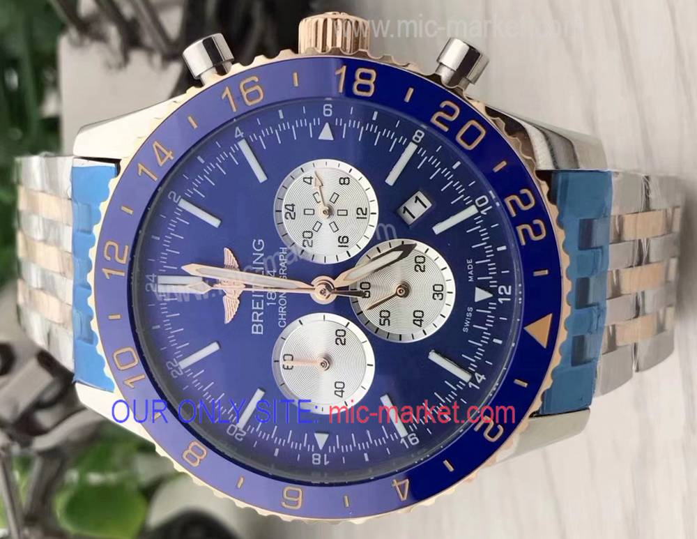2018 New Breitling Chronoliner b04 2 Tone Rose Gold Blue Watch