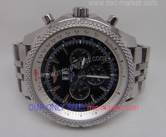 Breitling 1884 Bentley Stainless Steel Black Face Replica Watch