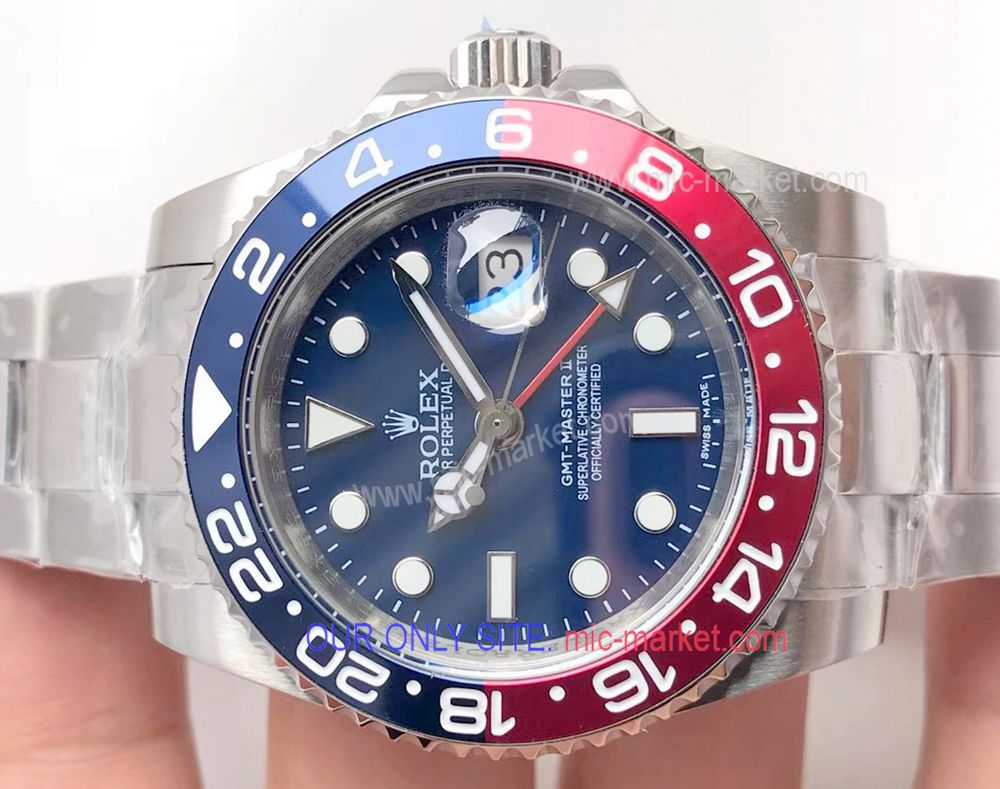 Clone Rolex GMT Master II Watch Stainless Steel New Blue Dial