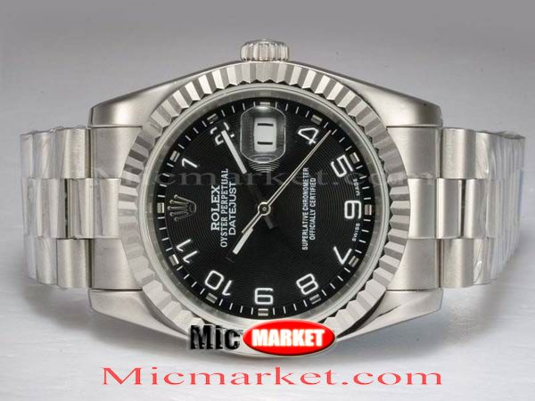 Copy Rolex Datejust Black Arabic Dial Stainless Steel Watch