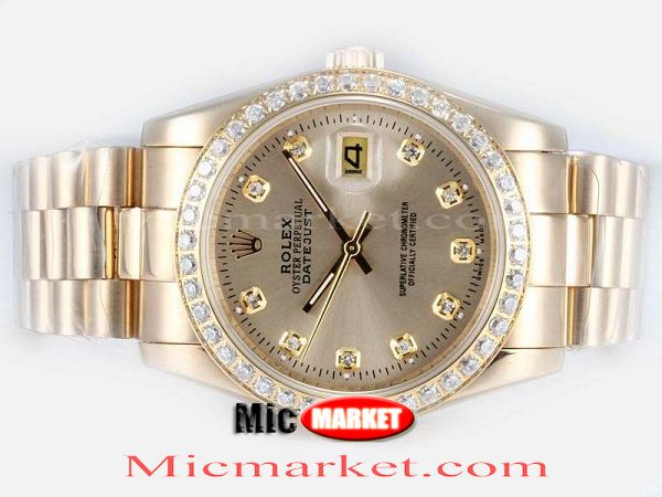 Copy Datejust Gold Face Rolex President Band Watch 36mm