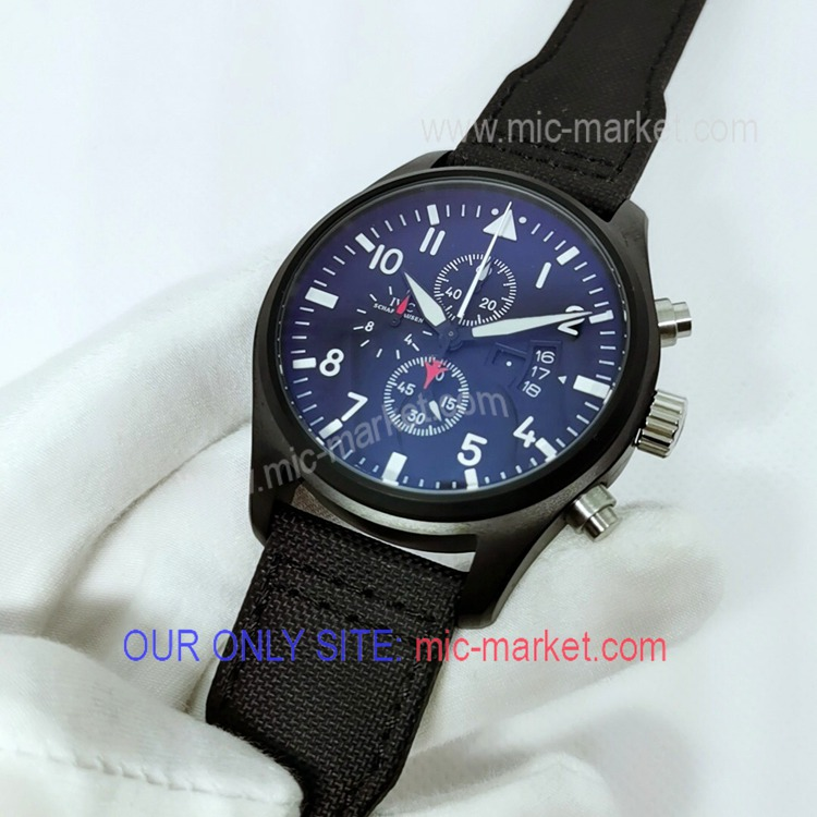 Free Warranty Copy IWC Spitfire Chronograph Black Watch