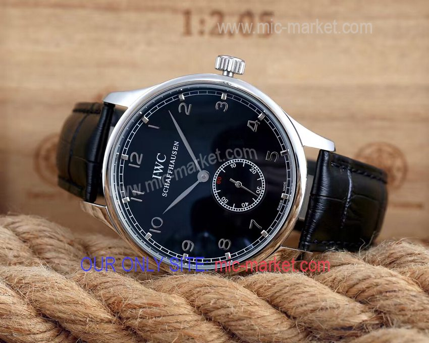 IWC Schaffhausen Portuguese SS Black 43mm Case Watch
