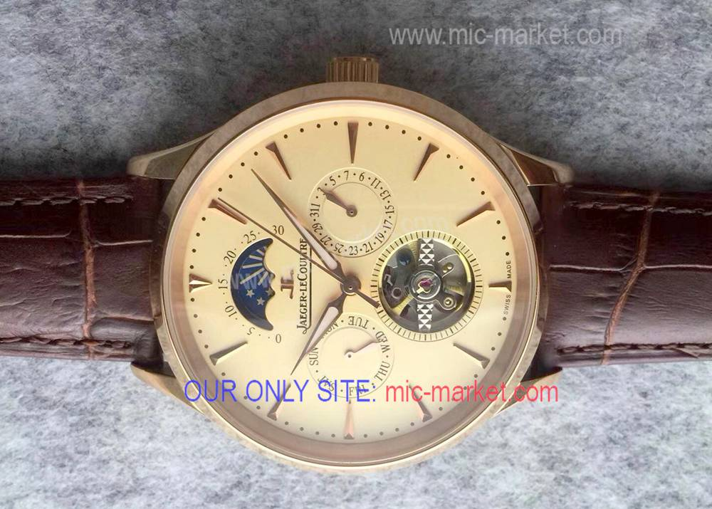 Jaeger LeCoultre Moon Phase Clone Watch Rose Gold Mens Size