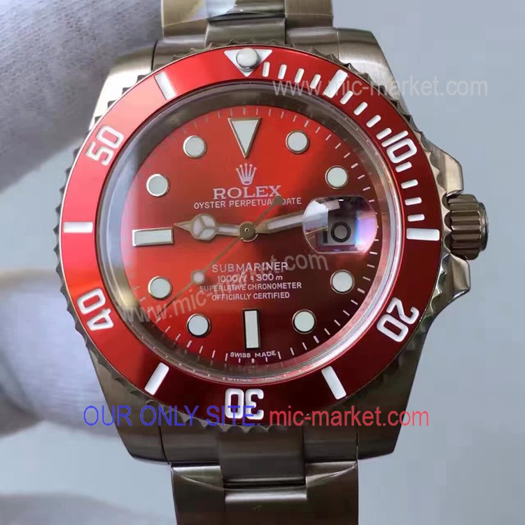 Copy Rolex Stainless Steel Submariner Watch Red Ceramic Bezel