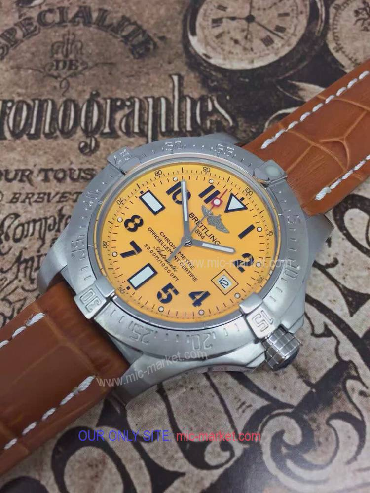 Best Replica Breitling Avenger Leather Strap Yellow Dial 45mm