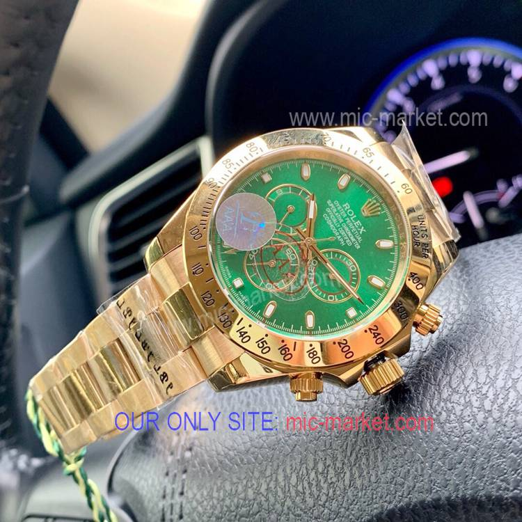 Replica Rolex Daytona Green Dial Yellow Gold Watch 43mm