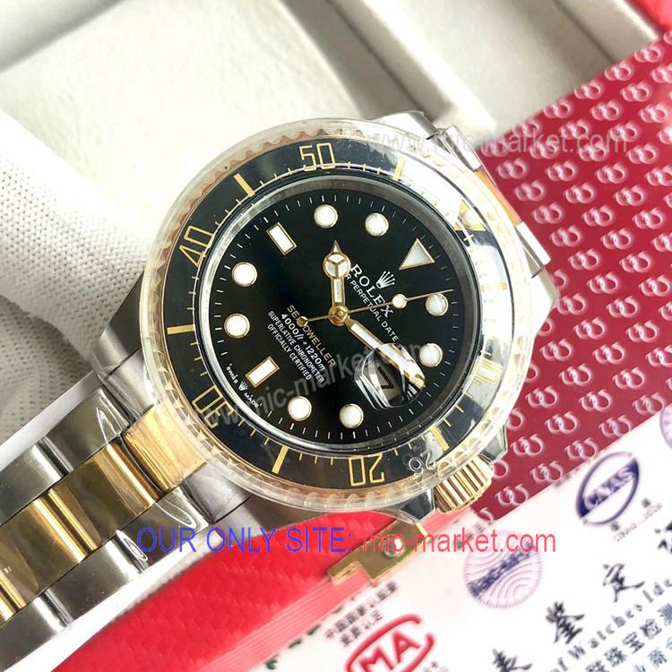 Rolex 43mm Sea-Dweller Two Tone Black Dial Watch New!