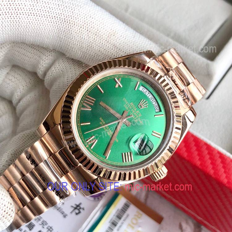 Rolex DayDate Rose Gold Green Dial Watch 40mm Men