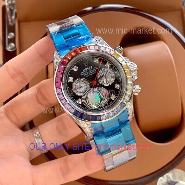 Rolex Daytona Automatic Watch SS Case Rainbow Diamond 40mm