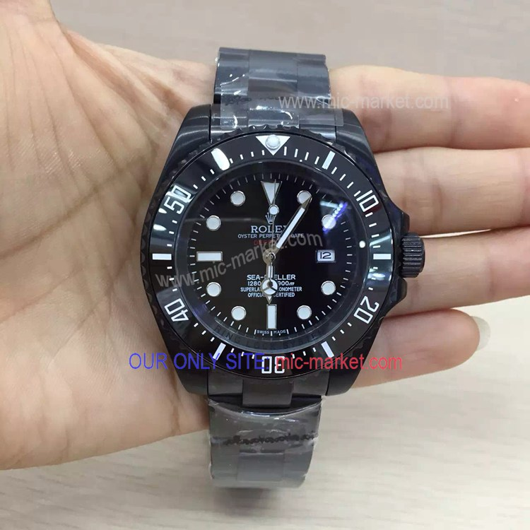 Single Red All Black Pro-Hunter Rolex Deepsea 44mm Replica