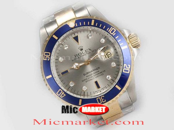 Rolex 2 Tone Submariner Blue Silver Dial Copy Watch