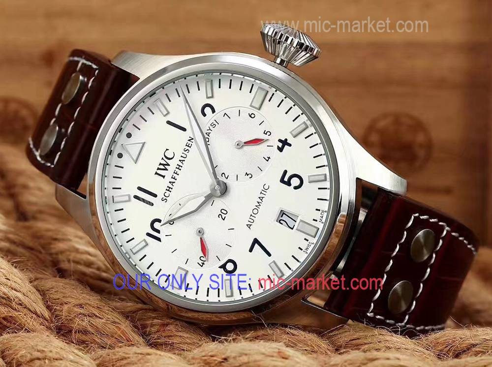 IWC Portuguese 7 days Power Reserve Watch SS Brown Leather