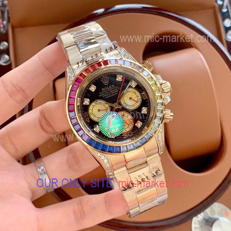 Rolex Daytona Automatic Watch All Gold Rainbow Diamond Bezel
